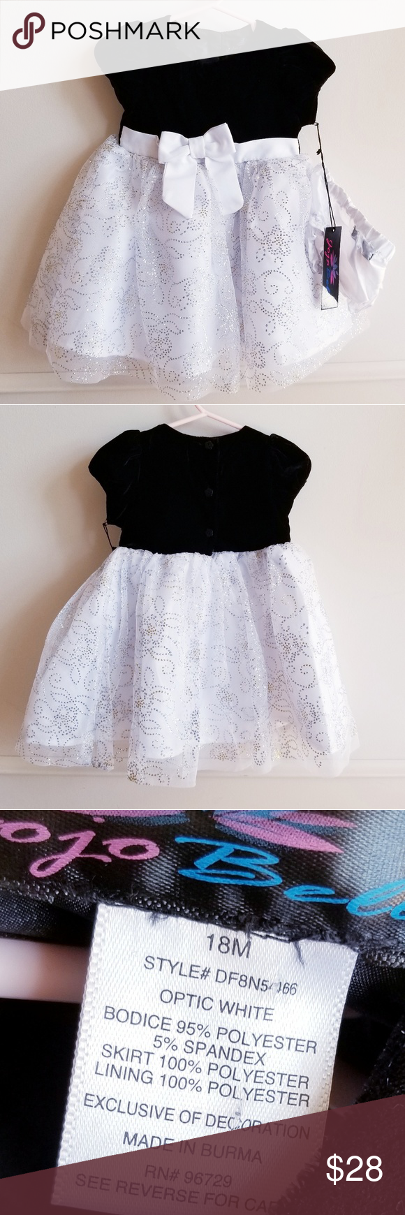 Jojo belle black and white holiday formal dress nwt my posh picks