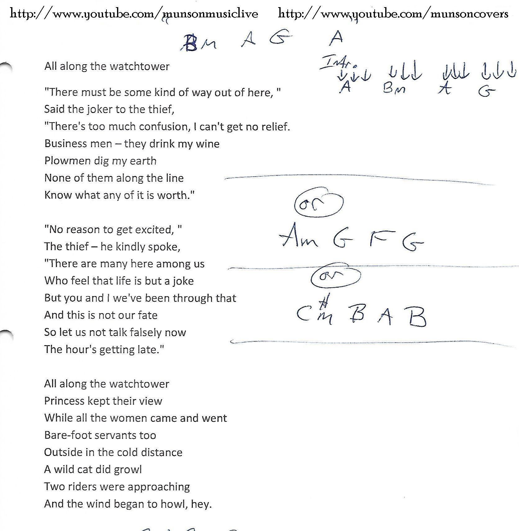 All Along The Watchtower Bob Dylan Guitar Chord Chart Music