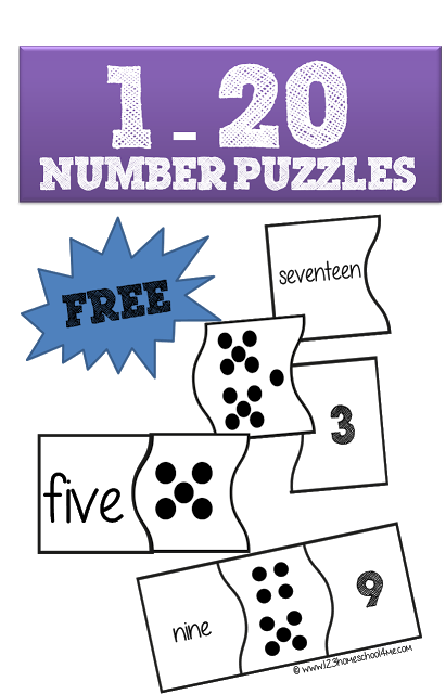 FREE 1-20 Number Puzzles | Number words, Number puzzles and Free ...