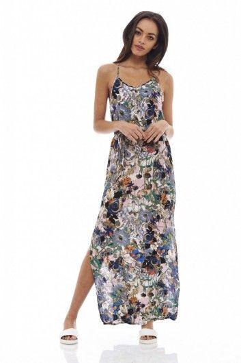 Ax paris halter floral strapless maxi dress
