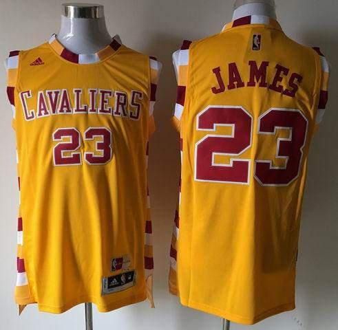 buy popular 36499 03af1 Cleveland Cavaliers #23 LeBron James Gold Throwback Classic ...