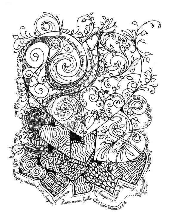 coloring page hand drawn love is patient hearts  coloring