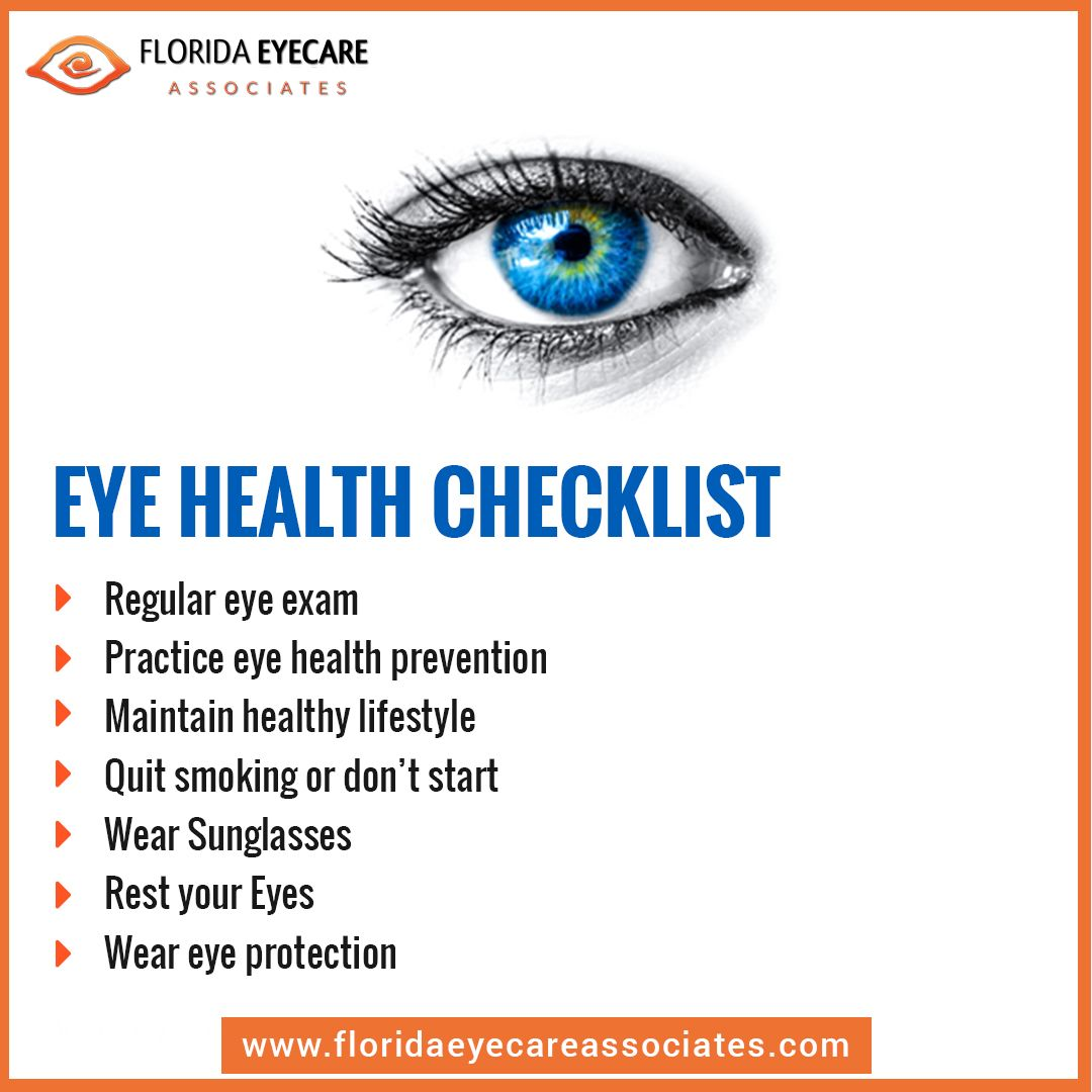 Eye Health Checklist Eyesprotection Eyecare Eyeexam