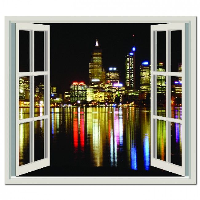 Perth city view wall sticker window wall decal