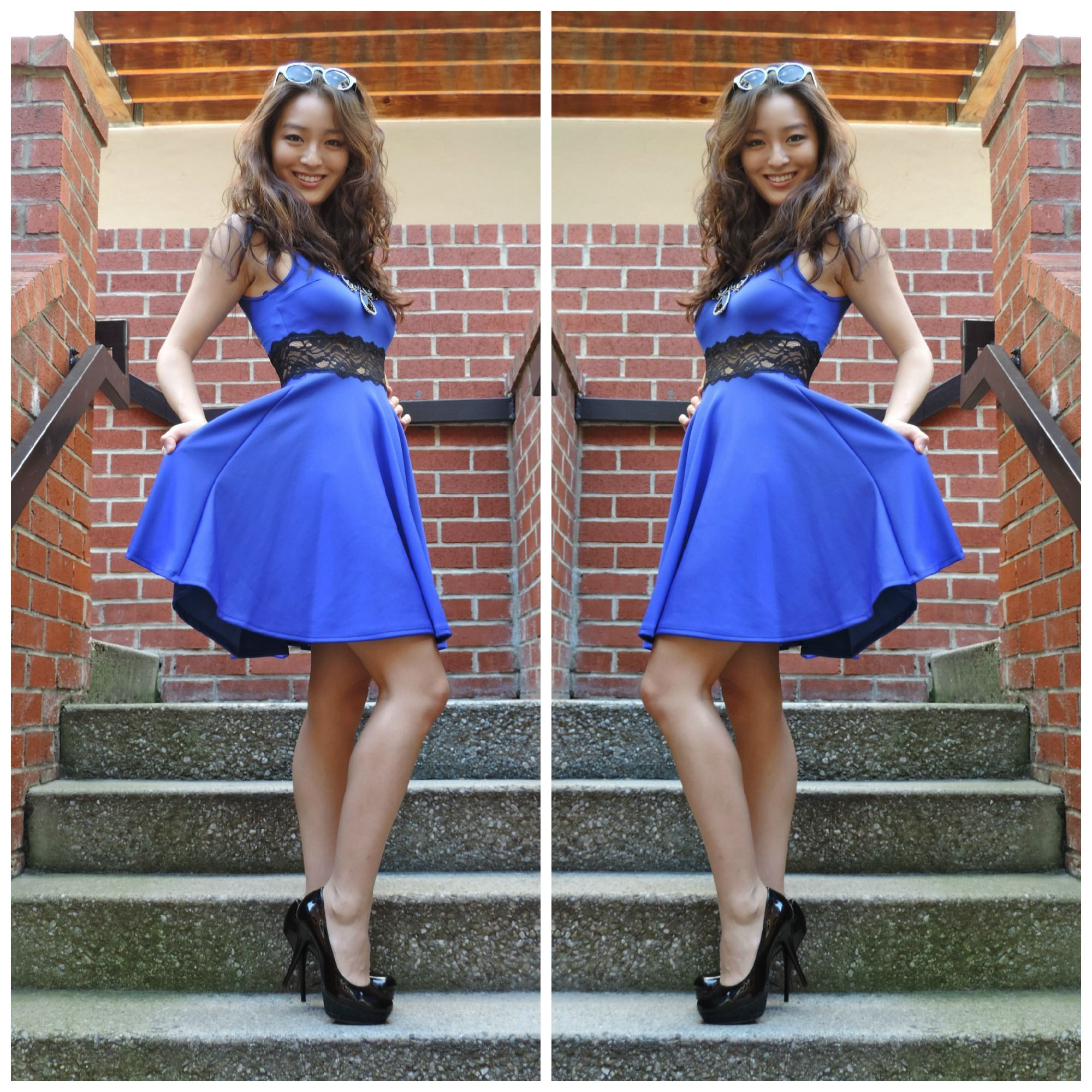 A stunning royal blue skater dress with a lace