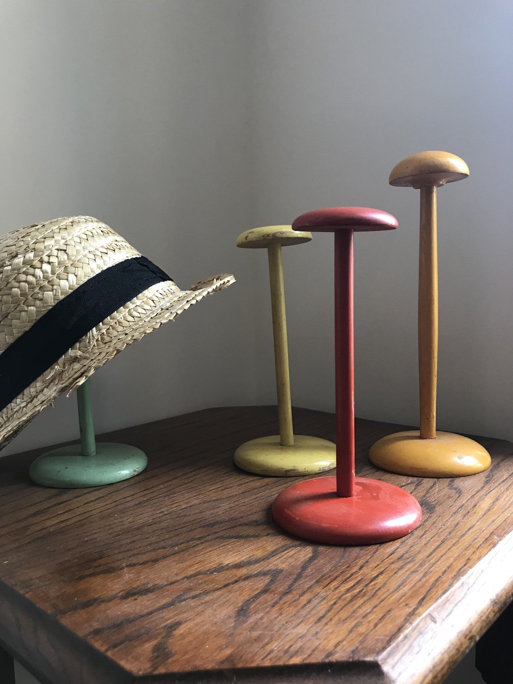 Set Of Four French Vintage Hat Display Stands Vintage Millinery Painted Wood Original Colours Hat Display Wall Hats Vintage Millinery