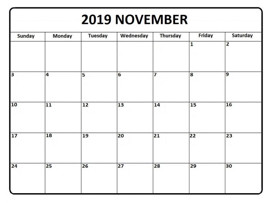 Free Blank November Calendar 2019 Printable Template Pdf Word