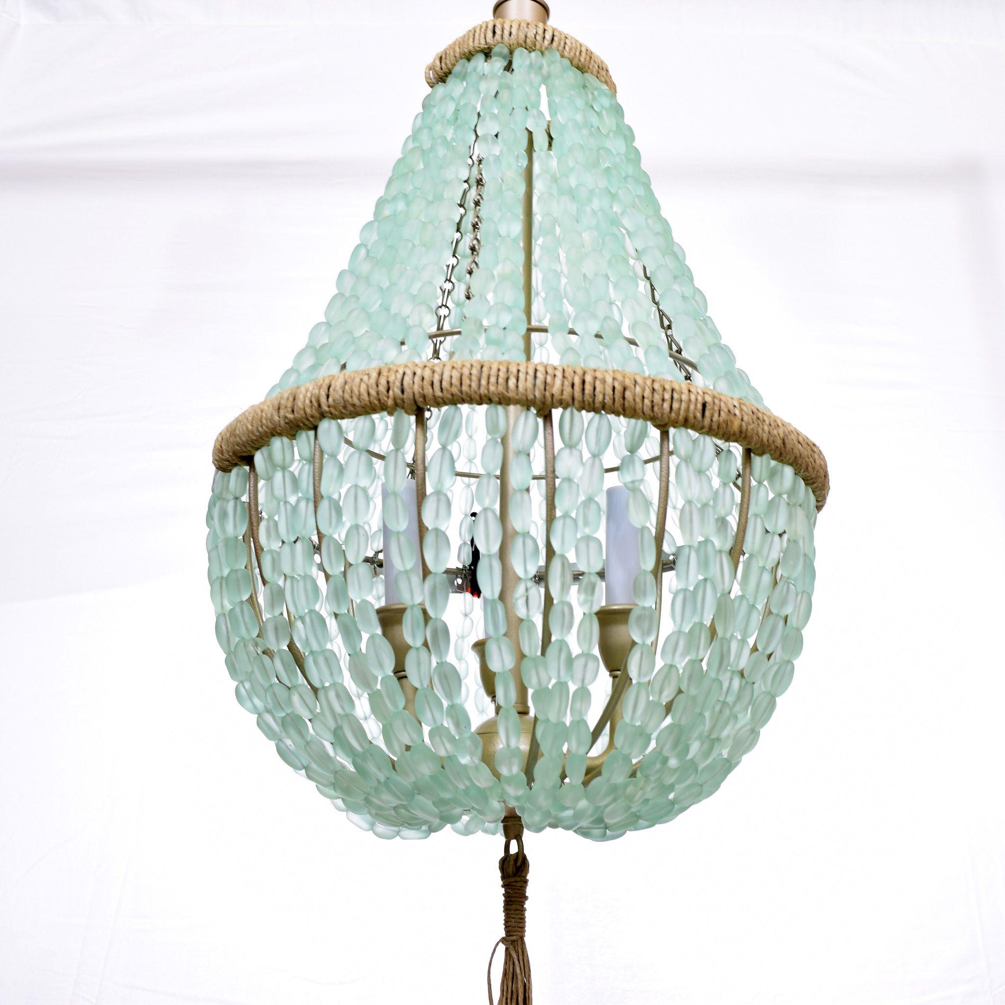 Celeste Sea Glass Empire Chandelier Nuggets Sea Glass