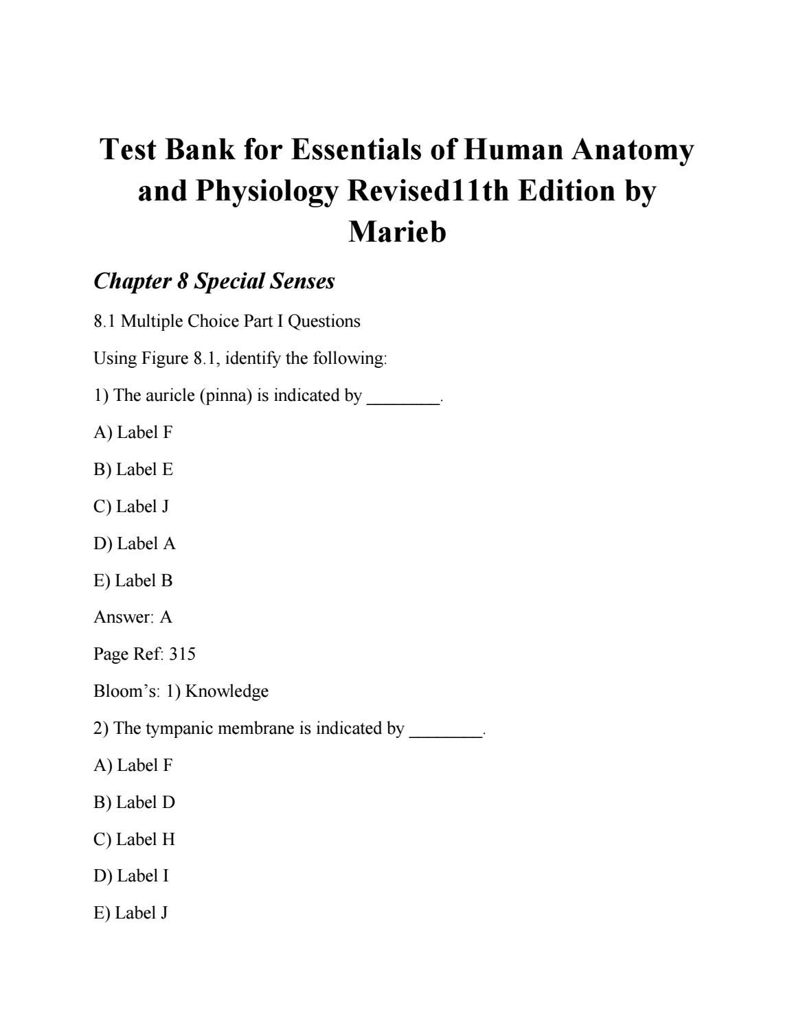 Test Bank For Essentials Of Human Anatomy And Physiology Revised11th