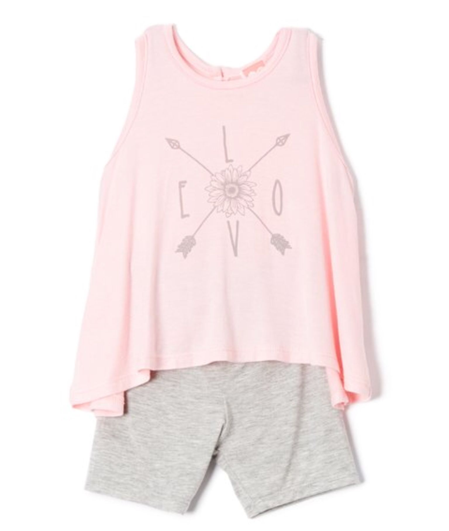 mini mini Pink & Gray Floral Tee & Shorts Infant & Toddler