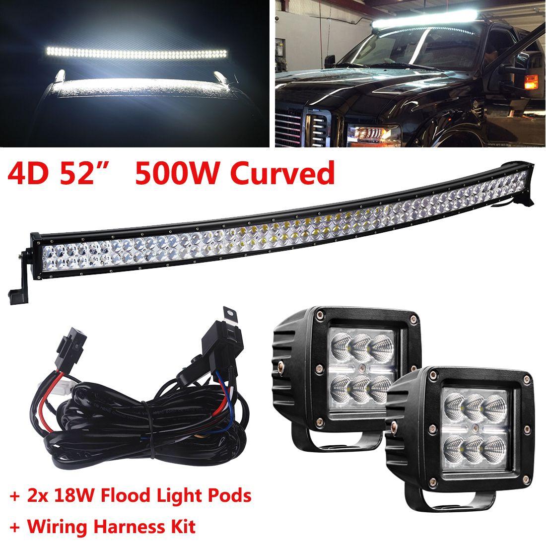 Http Ebaycom Itm 4d Curved 52 500w Combo Led Work Light Bar Wiring Off Road Lights