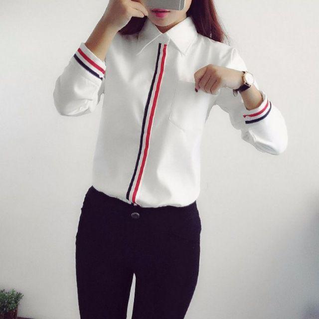 03e19c82dc Ropa de trabajo 2016 Mujeres Camiseta de Gasa Blusas Femininas Tops  Elegantes Señoras de la Oficina Formal Blusa Blanca