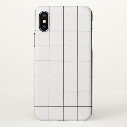 Minimal Black and White Checkbox Pattern iPhone X Case