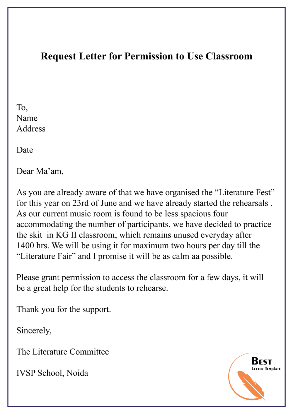 permission letter to use classroom Google Search