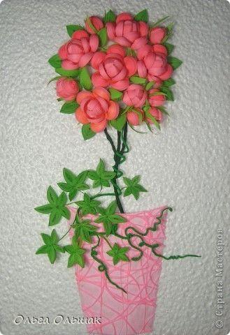 Картина, панно Квиллинг: Деревце счастья. Бумага гофрированная, Бумажные полосы, Проволока 8 марта, День матери, День рождения, Новый год, Свадьба. Фото 1