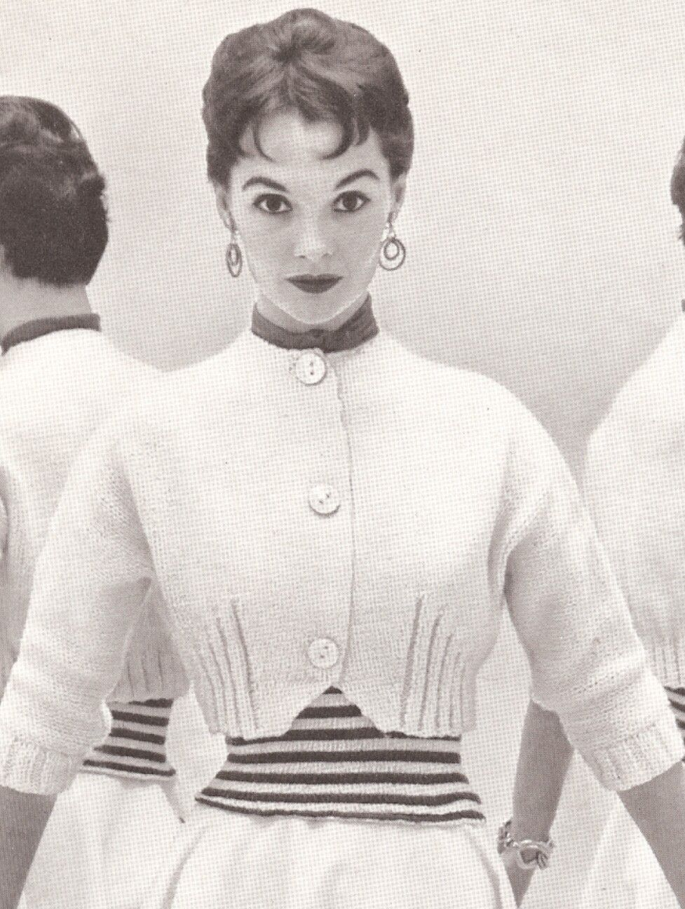 Vintage 50s knitted sweater pattern spencer jacket shortie vintage knitting pattern to make spencer shortie bolero jacket sweater minervasp bankloansurffo Choice Image