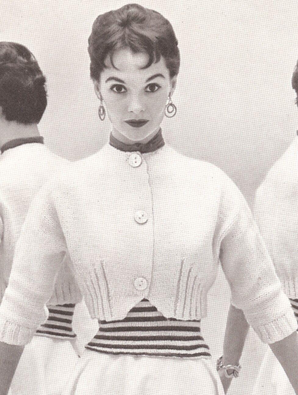 Vintage 50s KNITTED SWEATER PATTERN Spencer Jacket, Shortie, Bolero ...