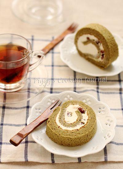 Matcha and azuki bean roll cake Recipe  Recipe adapted from ふんわりロールケーキ