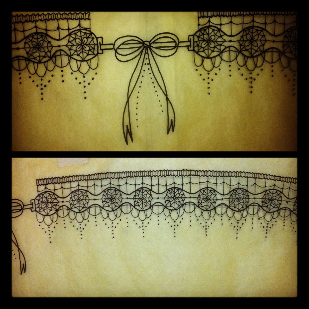 Lace garter tattoo started this garter design on for Garter tattoo templates