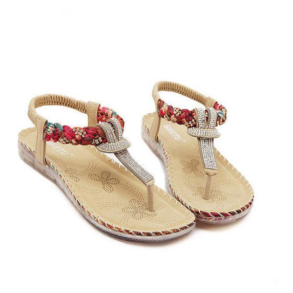 Women T-strap Elastic Flat Sandals Clip Toe Beaded Beach Sandals