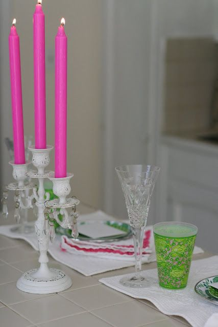 HOT pink candle sticks (+ plastic Lilly cups)   Pink ...