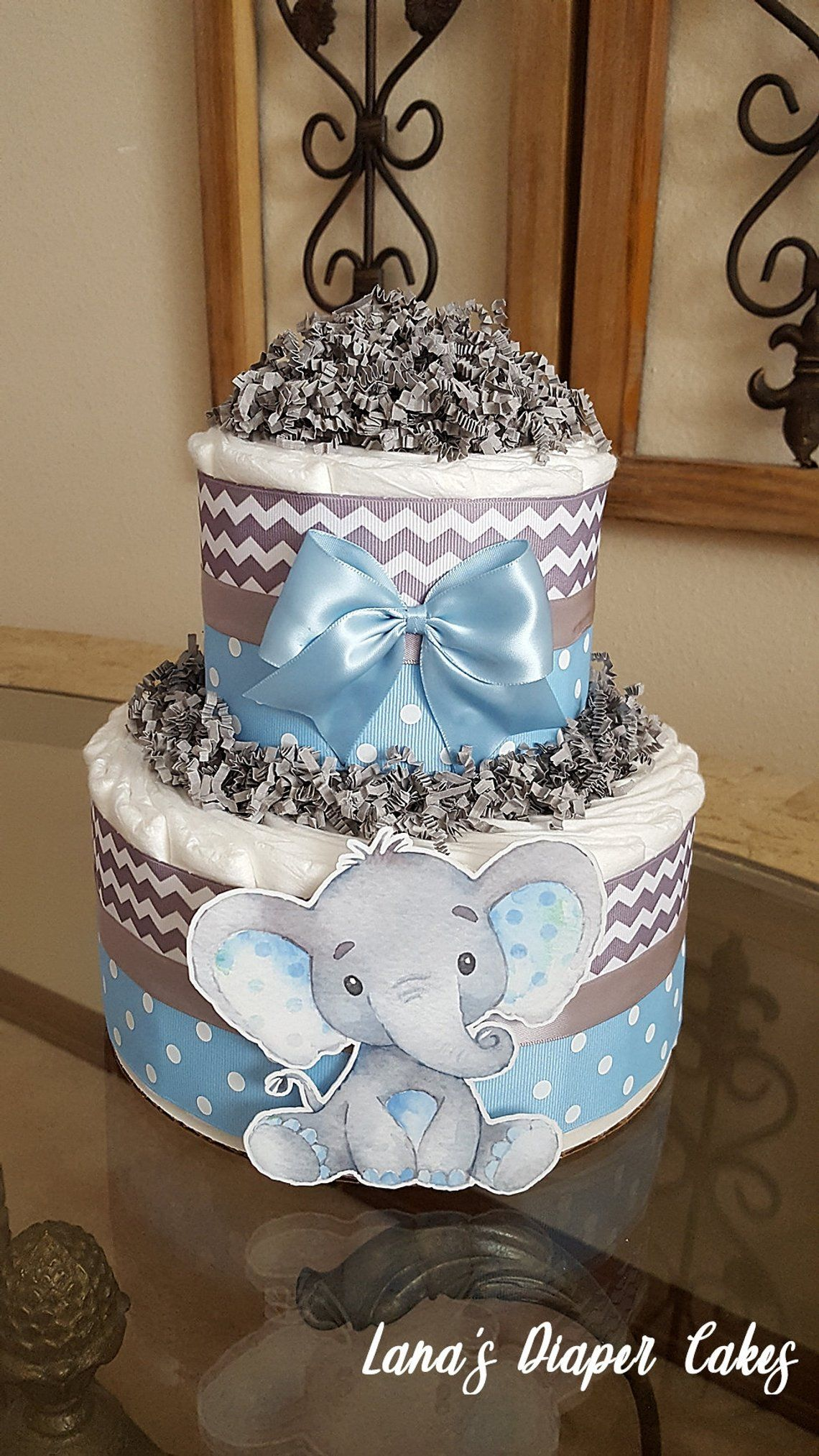 baby boy diaper cake elephant
