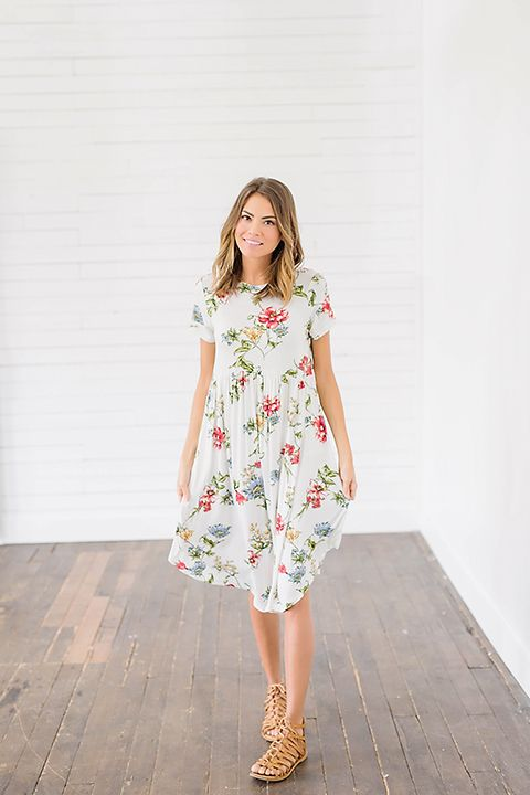 5fd79ad08d The Be Bold White Floral Dress is such a gorgeous piece! This ultra soft  material is accented with bright blue