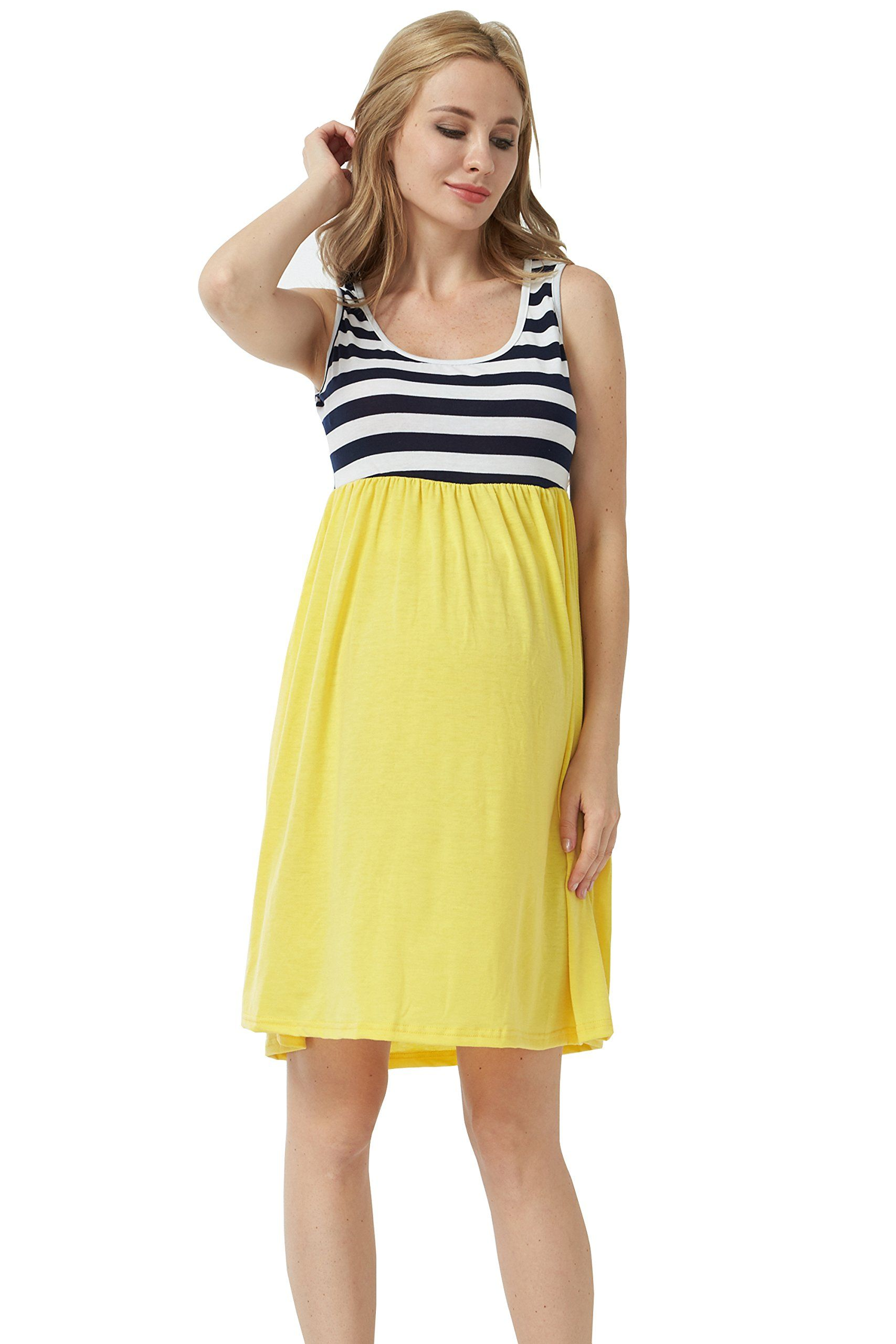 6f4a85efda6 Maternity Outfits - close-fitting maternity maxi dress   Maternity Maxi  Dress Pregnancy Tank Tops Knee Length Stitching Color Block Stripe Skirt  Yellow ...