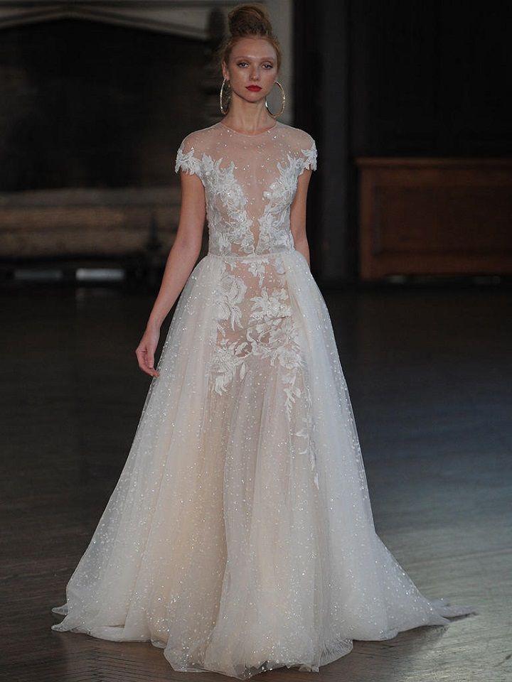 Berta A-line wedding gown with sheer crystal-embellished tulle | itakeyou.co.uk #wedding #weddingfashion #bridal #weddingdress #weddinggown #bridalgown #weddingdresses #weddinggowns #berta #bridalinspiration #weddinginspiration #engaged