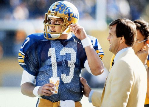 d658db185fc Pitt quarterback Dan Marino talks with head coach Jackie Sherrill on the sidelines  during a game against Florida State on Oct. 17, 1981 in Pittsburgh.
