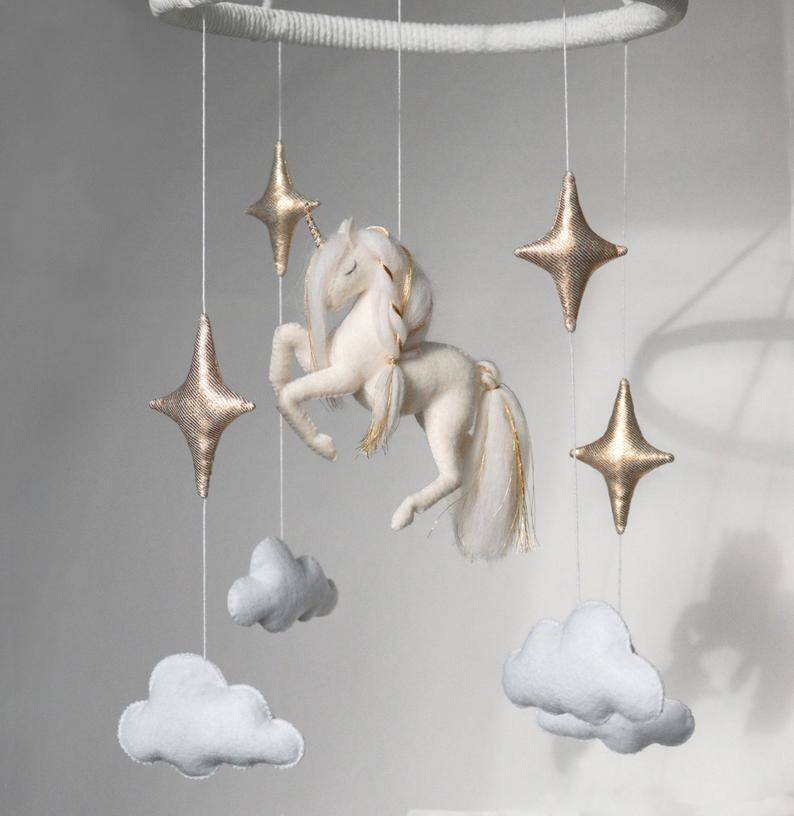 Unicorn Baby Mobile White Nursery Decor Horse Decor Gold Star light Baby neutral Gift Stars and Clouds Crib Mobile Felt Animal Baby Mobile
