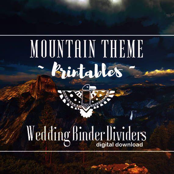 Wedding Binder Dividers - Mountain Theme, Boho Theme, Minimalist