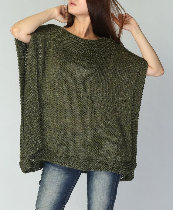 Hand Knitted Poncho Capelet Eco Cotton Poncho In Fall Green Ready