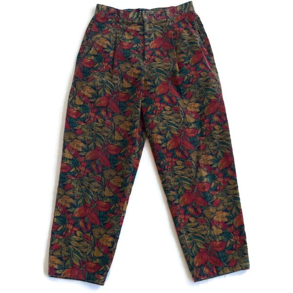 90s Floral Printed Corduroy Pants ($32) ❤ liked on Polyvore ...