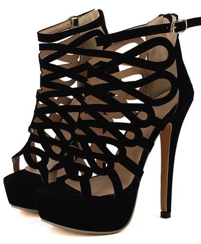 4ee71dd98b90 Super High Heels Black Suede Gladiator Sandals