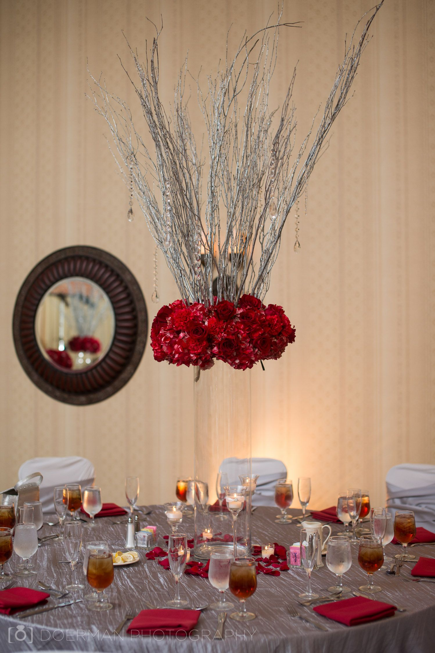 Wedding decoration ideas colors  Silver branches with color accent and moss vase  Oklahoma