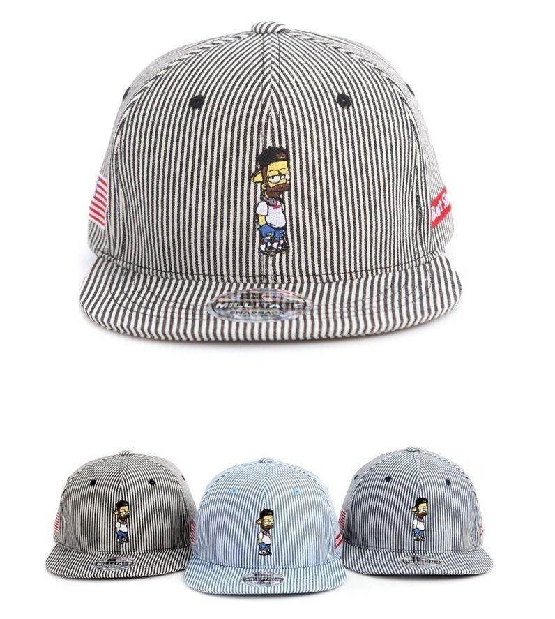 bf974430641 Simpson family Bart Simpson Stripe custom 3 color snapback hat flat  baseball cap  Millitage  snapbackhat