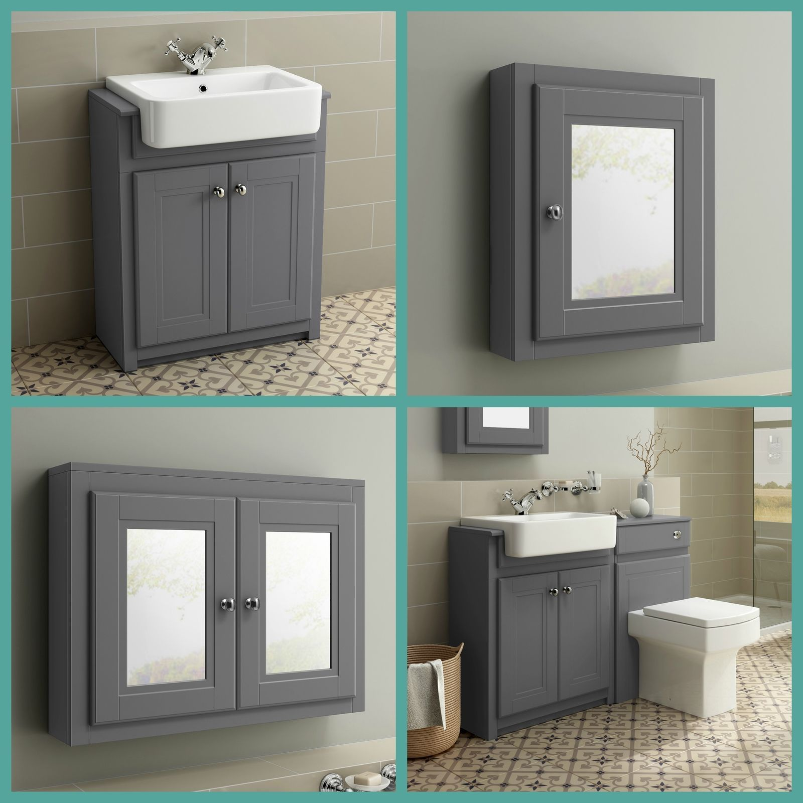 Traditional Grey Bathroom Vanity Unit Basin Furniture Storage Cabinet Mirror Ebay Badezimmer Grau Badezimmer Mobel Badezimmer