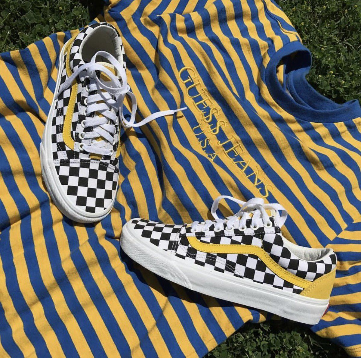 253ad91f15dc Yellow checkered vans