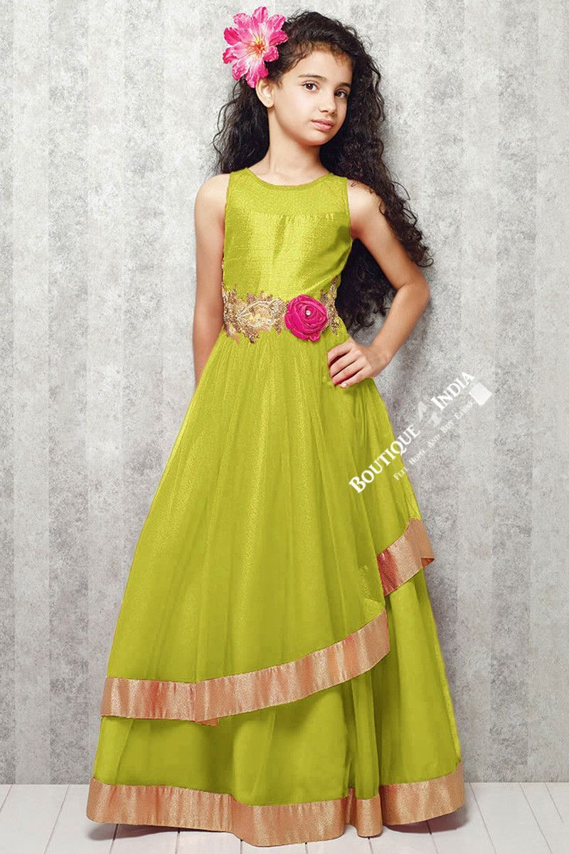 Girl's Green With Golden Casual Gown/Dress Gilr's