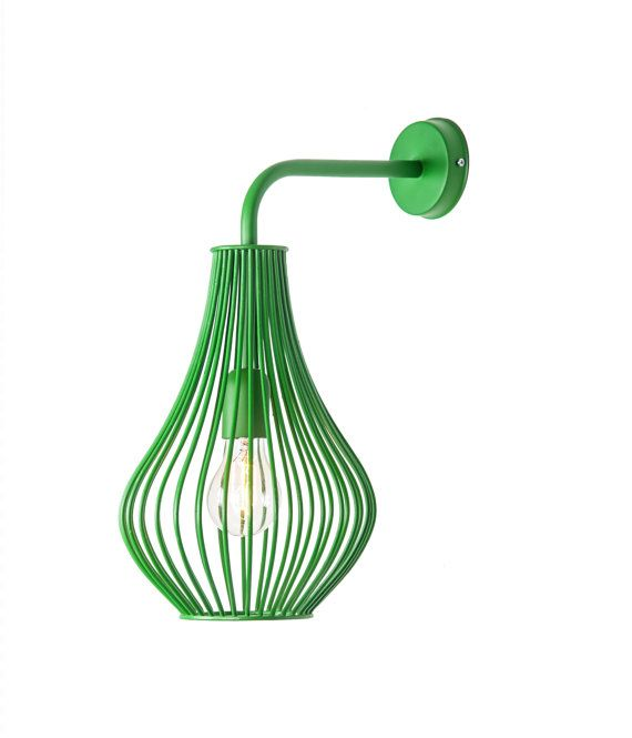 Green wire wall lamp hand made lighting fixture for home and office ...