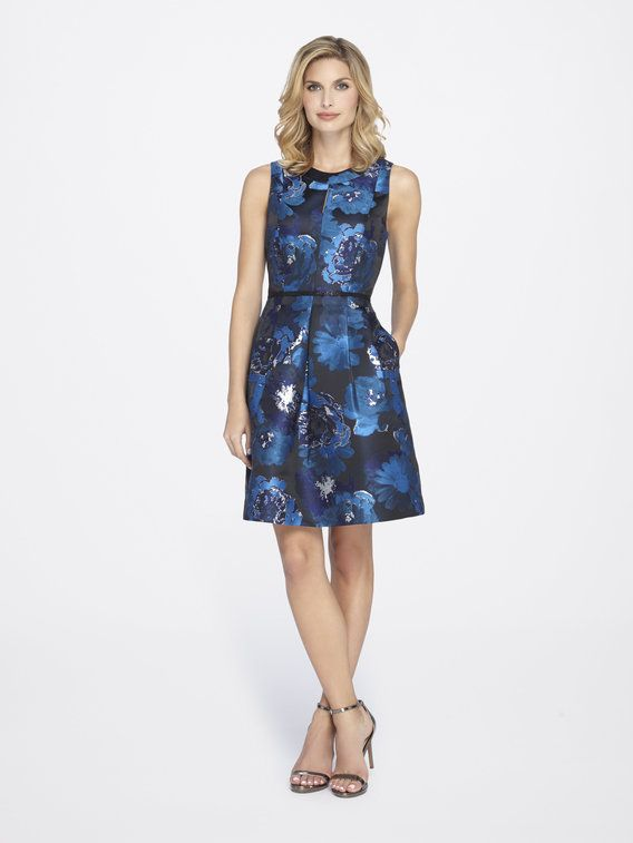 d505ee935d57 Floral Metallic Jacquard Fit-and-Flare Dress from Tahari ASL ...