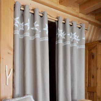 rideau tamisant illets coton polyester parement fleur chalet 135x260cm vallorcine rideau et. Black Bedroom Furniture Sets. Home Design Ideas