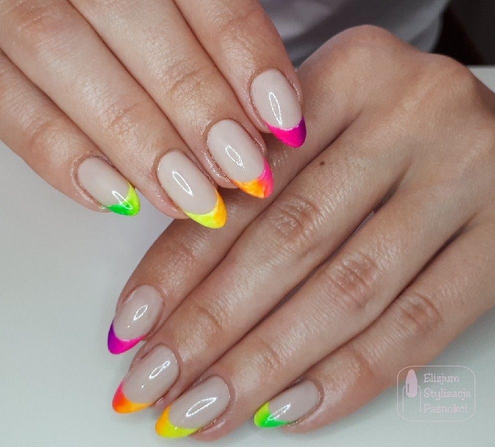 Neon Nails French Manicure Paznokcie