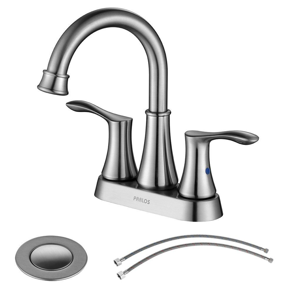 Parlos Swivel Spout 2 Handle Lavatory Faucet Brushed Nickel