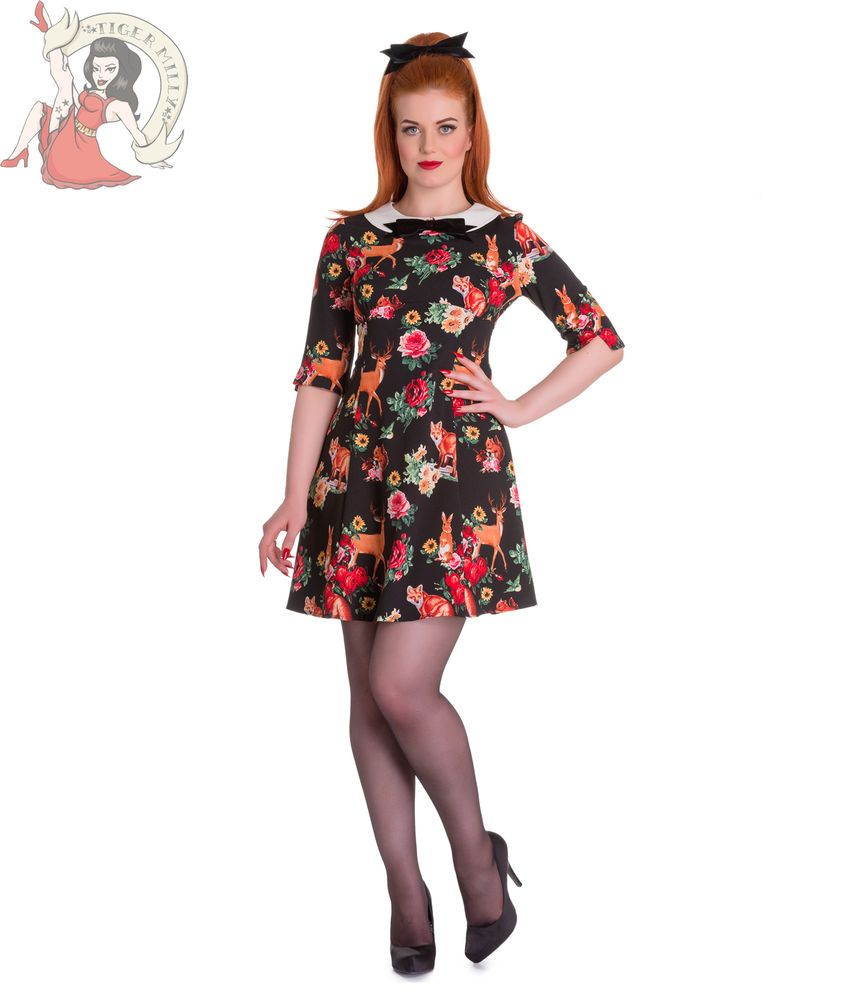 HELL BUNNY 60's vintage style HERMELINE fox WOODLAND ANIMAL MINI DRESS BLACK