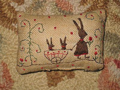Primitive Tiny Sampler Pillow~Mama Rabbit Pulls Her Girls in Cart~Folk Art Small