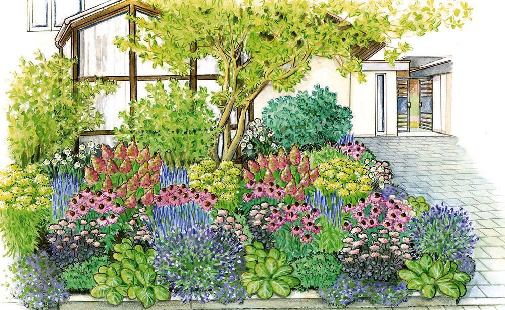 Eine Pflanzidee Für Den Vorgarten: Vom Frühling Bis In Den Winter Ist In  Diesem Sonnigen Beet Durch Blütenfarben Und  Formen Für Abwechslung Gesorgt.