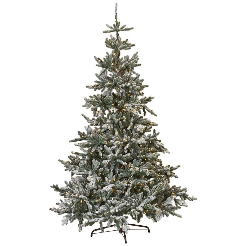 Living Christmas Trees For Sale: 7.5 Ft. Indoor Pre-Lit Snowy Norwegian Spruce Artificial