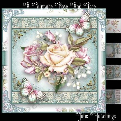 wonderful card front kit that has 4 sheets to print cut and assemble to make a stunning card for all occasions..The kit includes the card front 8x8, A layer and decoupage, Insert and cut and fold gift card also includes small toppers and sentiments